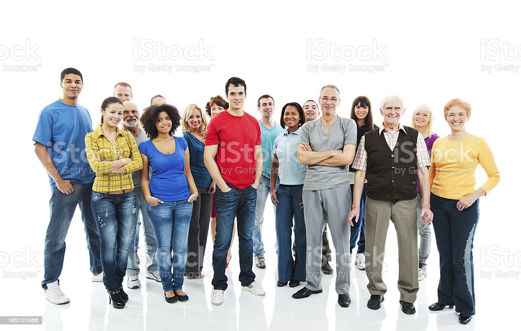 Large Group of Happy People standing together. royalty-free stock photo