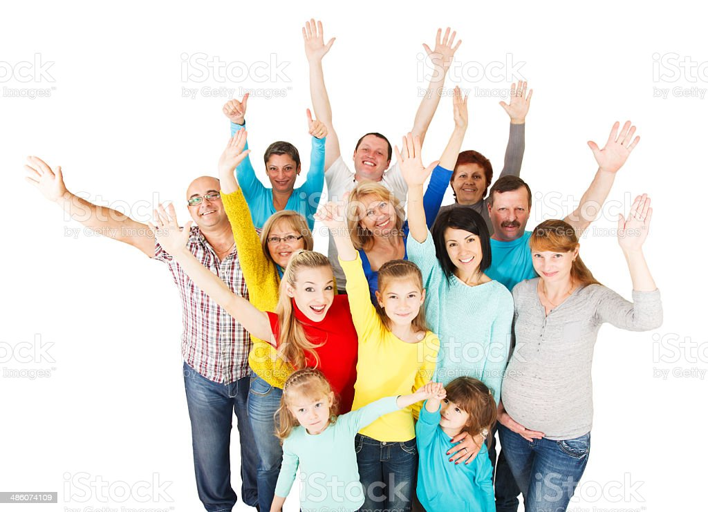Large Group Of Happy People Standing Together Stock Photo
