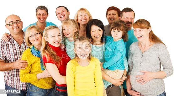671270528istockphoto Large Group of Happy People standing together. 493763703