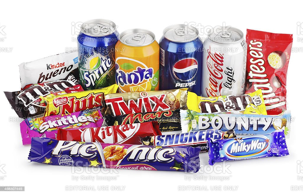 Large group of junk food on white with clipping path stock photo