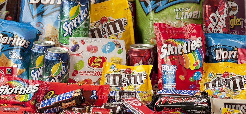 Large group of junk food panorama stock photo
