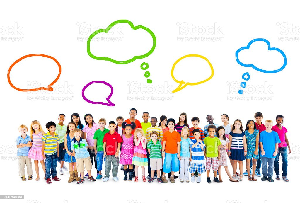 Large Group of Multiethnic Children Speech Bubbles stock photo