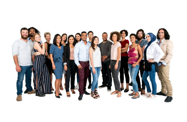 Large group of multi-ethnic people isolated stock photo