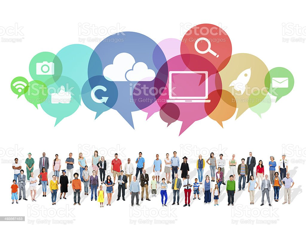 Large Group of Multiethnic People with Social Media Symbols stock photo