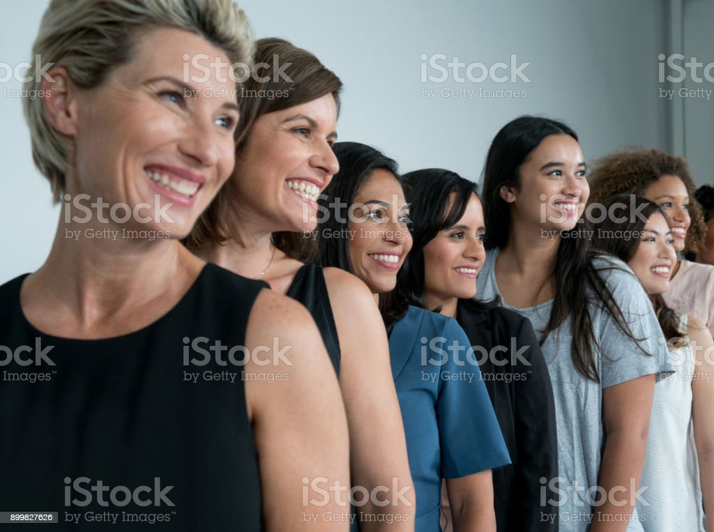 Large group of multi-ethnic women stock photo