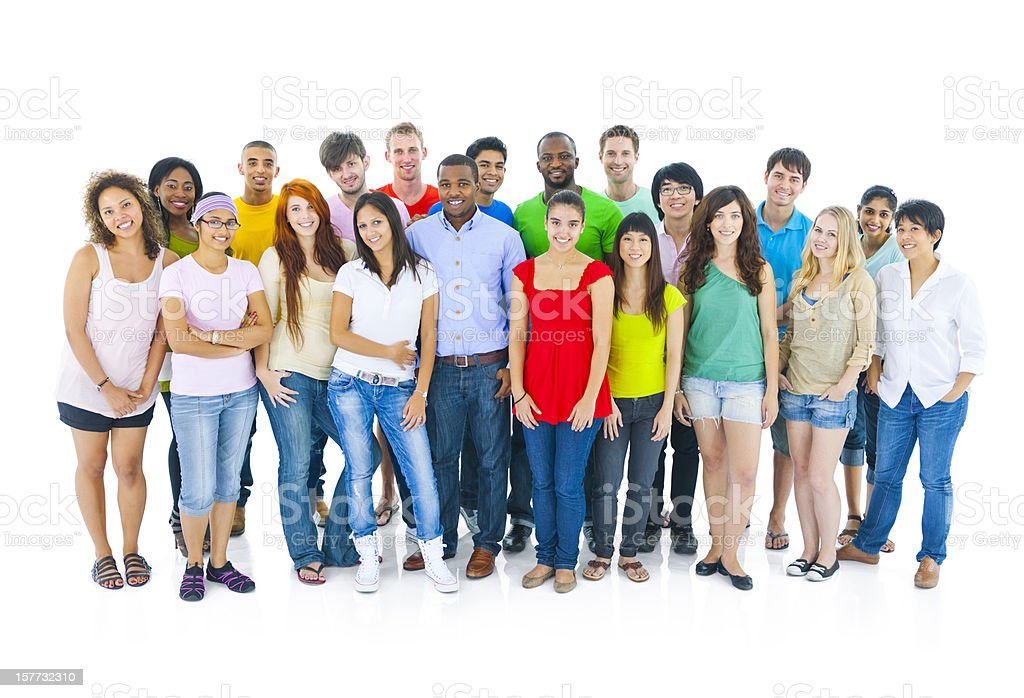 Large group of multi-ethnic young people royalty-free stock photo