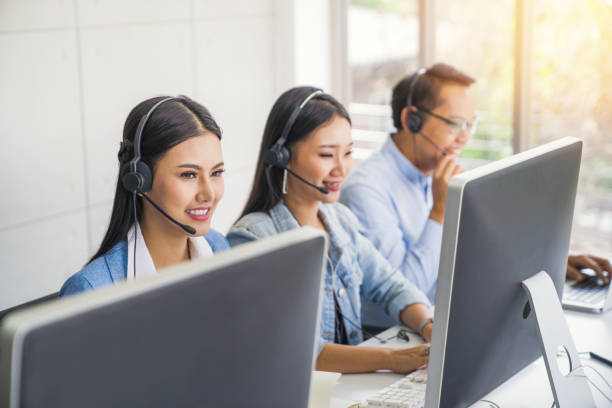 Large group of new online business sale team people and call centre it support helping customer to find a solution for business and advice customer stock photo