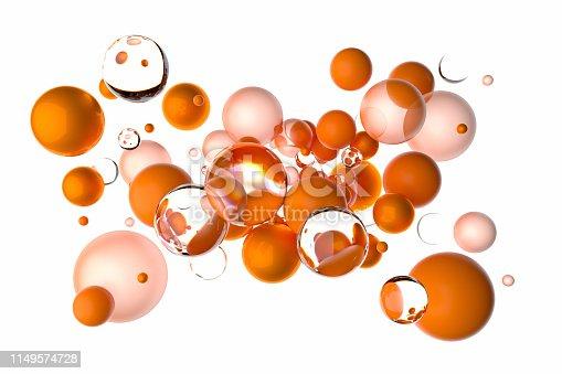 istock Large group of orange bubbles 1149574728
