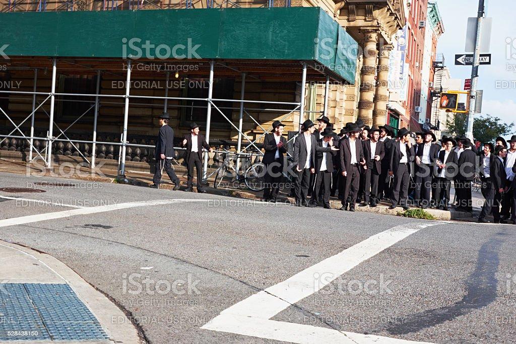 large group of orthodox jewish men stock photo