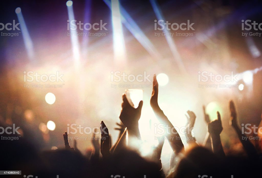 Large group of people at concert. stock photo