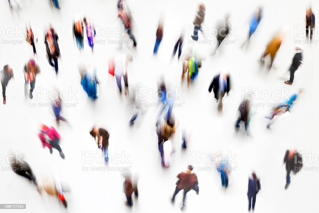 Large Group of People, Elevated View, Blurred Motion stock photo