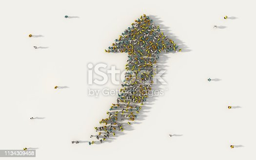 istock Large group of people forming a big direction arrow symbol in business, social media, and community concept on white background. 3d sign of crowd illustration from above gathered together 1134309458