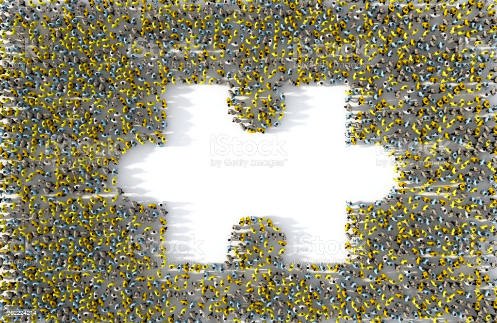 Large group of people forming a missing jigsaw puzzle piece, 3d illustration stock photo