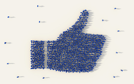 Large group of people forming a thumb up icon in business, like button in social media, and community concept on white background. 3d sign of crowd illustration from above gathered together