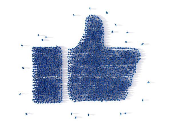Grand groupe de personnes formant une simple icône sur blanc. Concept de médias sociaux. illustration 3D - Photo