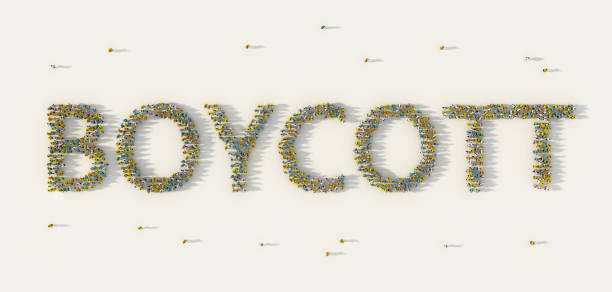Large group of people forming Boycott lettering text in social media and community concept on white background. 3d sign of crowd illustration from above gathered together Large group of people forming Boycott lettering text in social media and community concept on white background. 3d sign of crowd illustration from above gathered together facebook boycott stock pictures, royalty-free photos & images