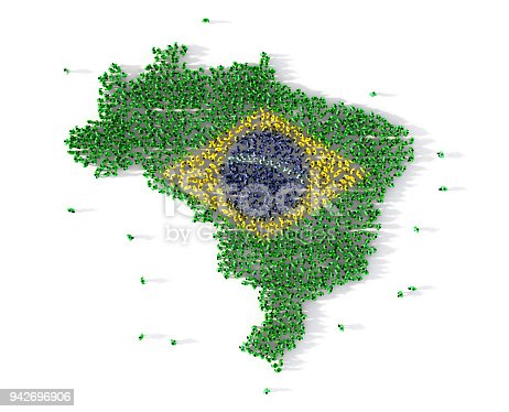 istock Large group of people forming Brazil map concept. 3d illustration 942696906