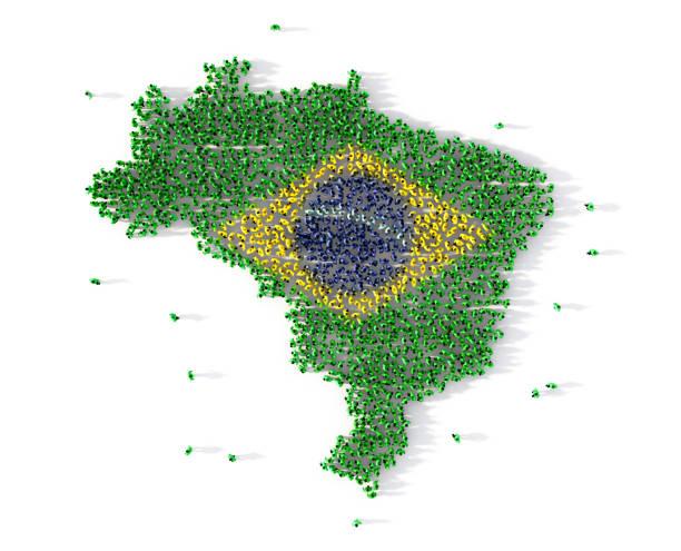 Grande grupo de pessoas formando o conceito de mapa do Brasil. ilustração 3D - foto de acervo