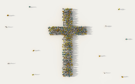 Large group of people forming christian cross symbol in social media and community concept on white background. 3d sign of crowd illustration from above gathered together