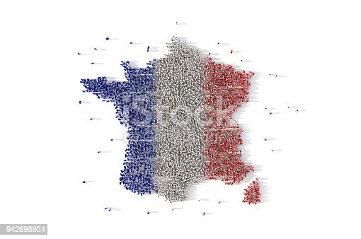 istock Large group of people forming France map concept. 3d illustration 942696924