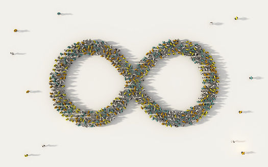 Large group of people forming infinity symbol in social media and community concept on white background. 3d sign of crowd illustration from above gathered together