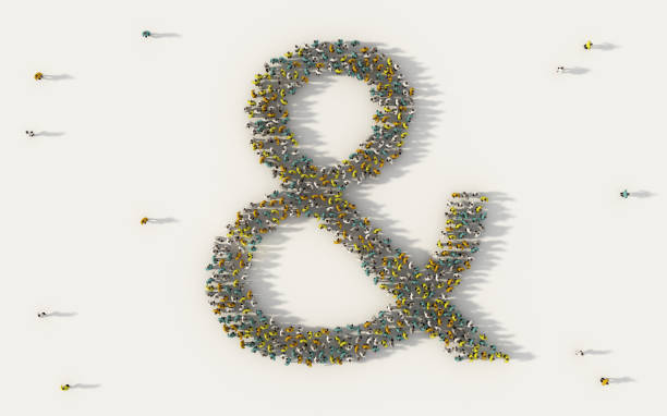 large group of people forming & or the ampersand symbol in social media and community concept on white background. 3d sign of crowd illustration from above gathered together - ampersand stock pictures, royalty-free photos & images