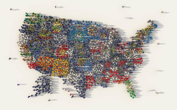 gran grupo de personas formando estados unidos o el mapa de banderas en los medios sociales y el concepto comunitario sobre fondo blanco. muestra 3d de la ilustración de la muchedumbre de arriba reunió juntos - us map fotografías e imágenes de stock