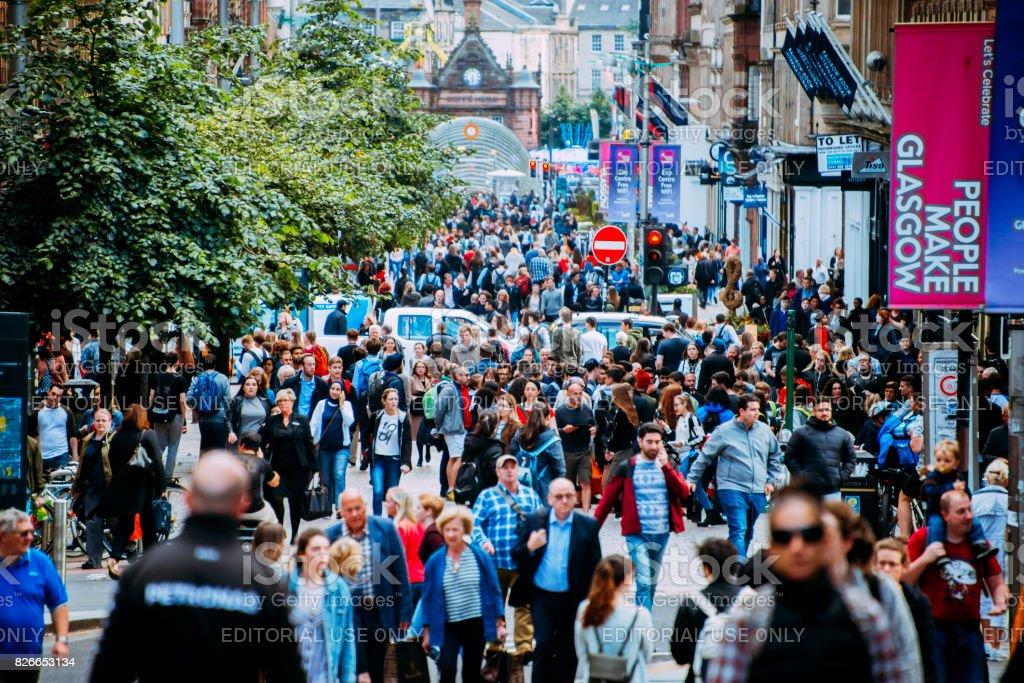 Large group of people in Buchanan Street. Glasgow. stock photo