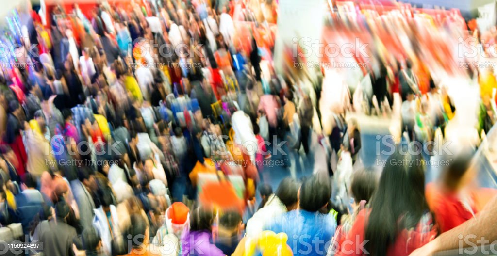 Large group of people in shopping mall for the Christmas Day, in...