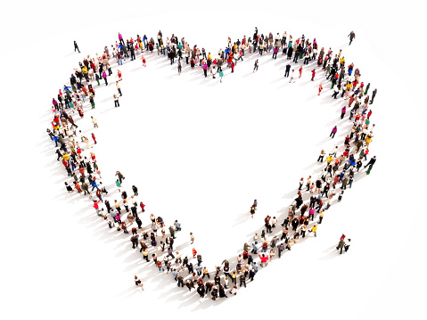 Healthy life,or people searching for love concept. High angle view on a white background.Room for text or copy space