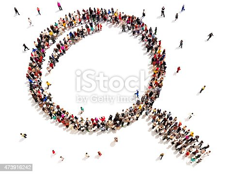istock Large group of people in the shape of a magnifying glass. 473916242