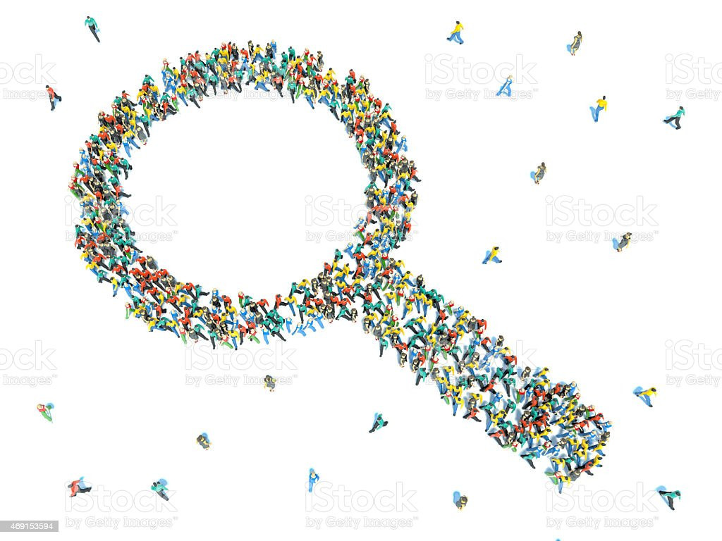 Large group of people in the shape of magnifying glass. stock photo
