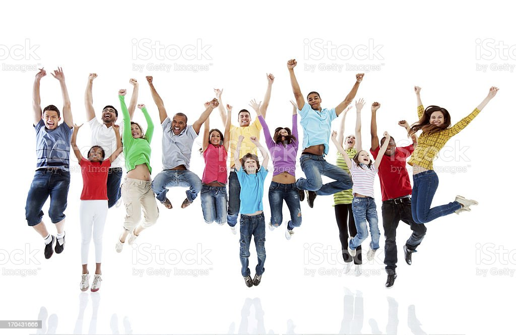 Large group of people jumping together. royalty-free stock photo