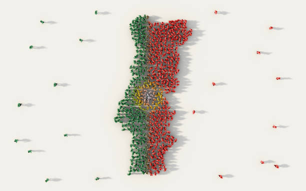 large group of people portugal forming map and national flag in social media and community concept on white background. 3d sign symbol of crowd illustration from above gathered together - portugal map imagens e fotografias de stock