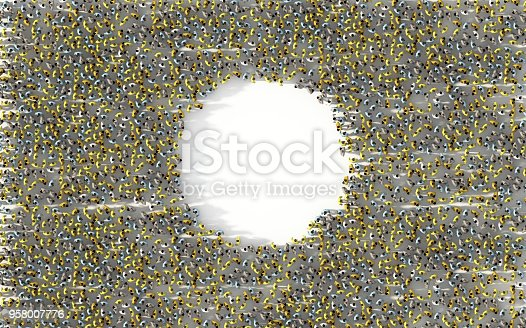 istock Large group of people standing in a circle with copy space. Social media concept. 3d illustration 958007776