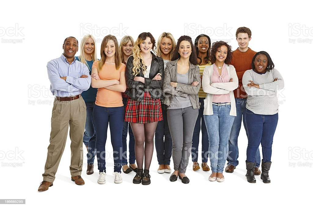 Large group of people standing together on white royalty-free stock photo