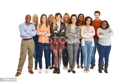 istock Large group of people standing together on white 186685295
