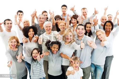 Above view of a large cheerful group of people showing their thumbs up.