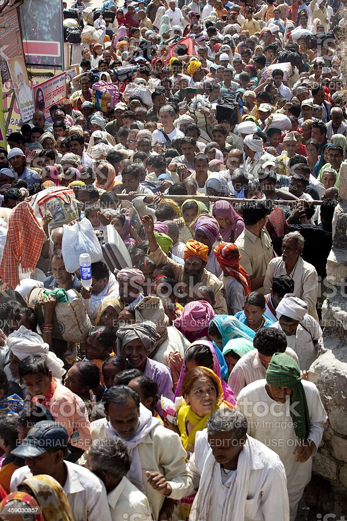 Large group of pilgrims at Kumbh Mela stock photo