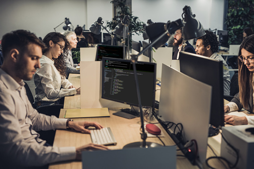 Large Group Of Computer Programmers Working On Desktop Pcs In The Office Stock Photo - Download Image Now