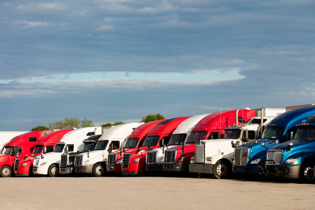 Large Group of Semi Trucks Parked at Truck Stop, Missouri stock photo