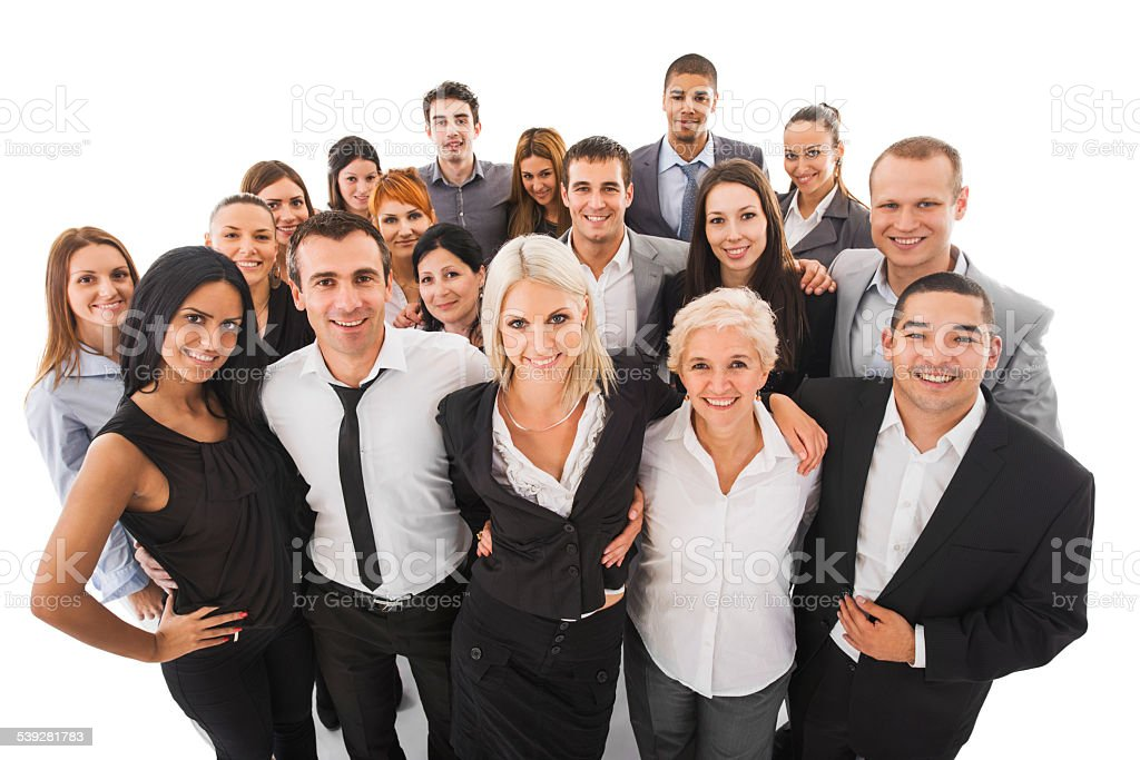 Large group of smiling business people embracing. Isolated on white. stock photo