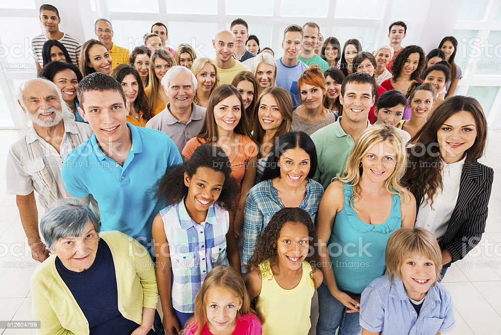 Large group of smiling people. stock photo