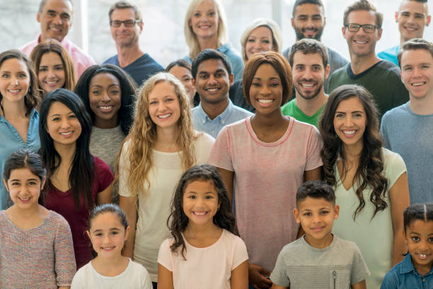 Large Group of Smiling People stock photo