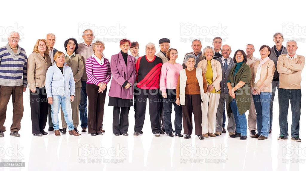 Large group of smiling seniors. stock photo