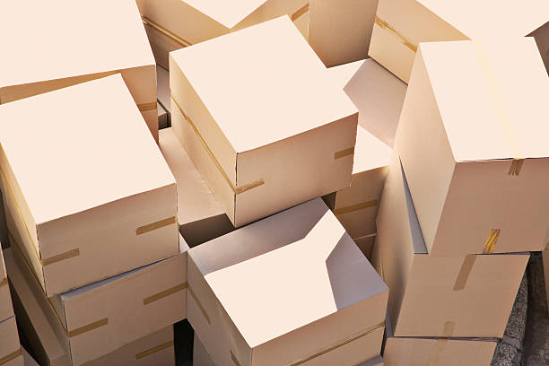 Large group of stacked boxes stock photo