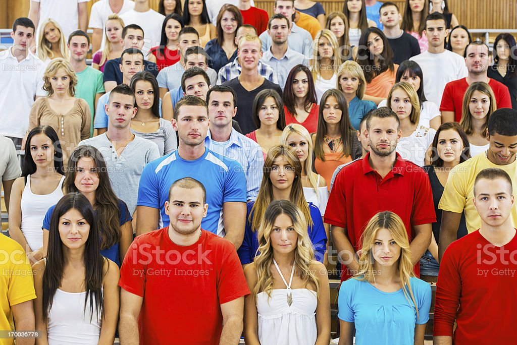 Large group of students at university amphitheatre. royalty-free stock photo