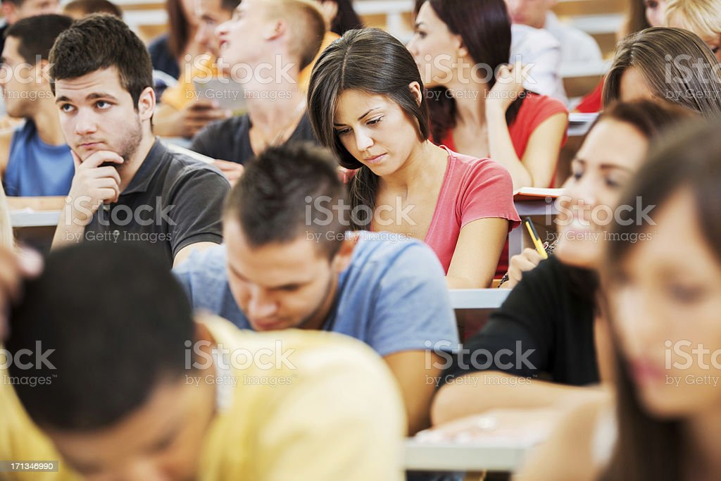 \'Group of college students at the university amphitheatre, they are...