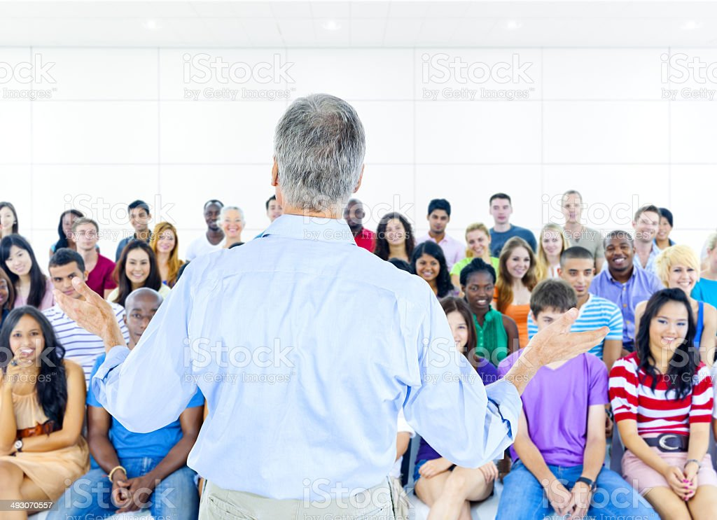 Large group of Students in lecture room stock photo