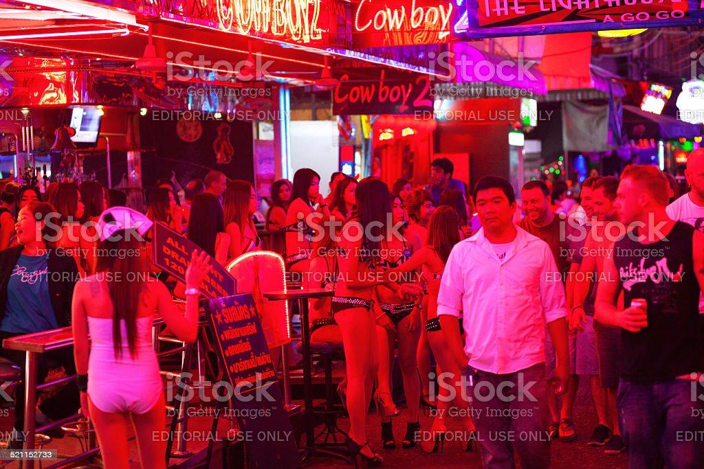 Large group of Thai bar girls stock photo